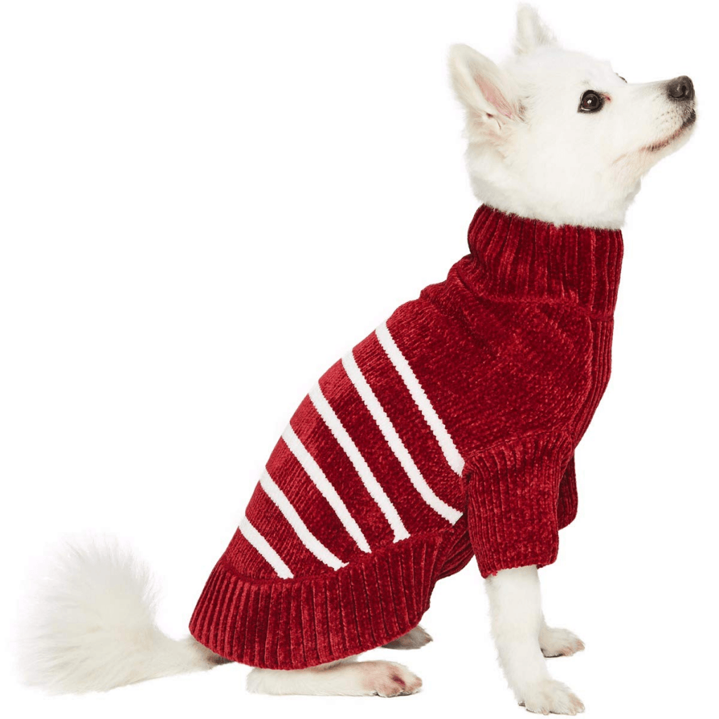 Dog sweater in red and white from Blueberry Pet