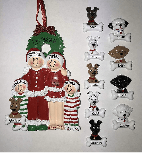 Family plus two dogs ornament