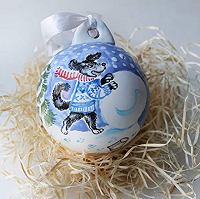 Natvasclay Christmas Ornament Blue and White ornament with dog building a snowman